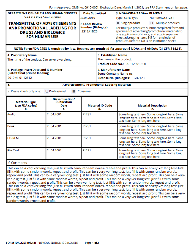 Form FDA 2253